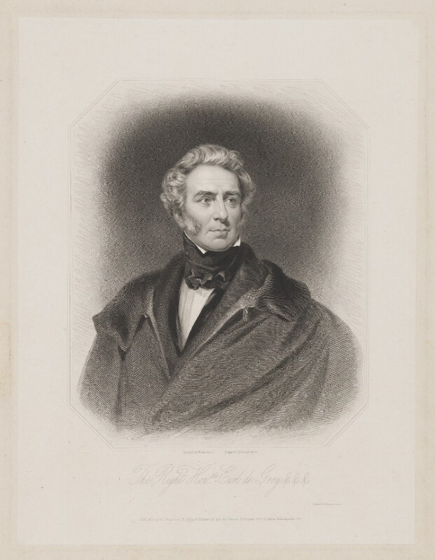 Thomas Philip de Grey, 2nd Earl de Grey, by Joseph Brown, published by  R. Ryley, published by  James Fraser, published by  Sir Francis Graham Moon, 1st Bt, after  John Wood, published 1837 - NPG D34848 - © National Portrait Gallery, London
