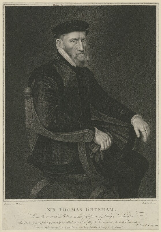 Sir Thomas Gresham, by Robert Thew, published by  Thomas Cox, published by  John Harris, after  Anthonis Mor (Antonio Moro), published 2 January 1792 - NPG D34939 - © National Portrait Gallery, London