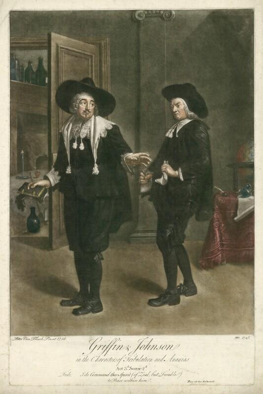 Benjamin Griffin as Tribulation; Benjamin Johnson as Ananias in Ben Jonson's 'The Alchemist' Act III, Scene 2, by Peter van Bleeck, 1748 (1738) - NPG D34968 - © National Portrait Gallery, London