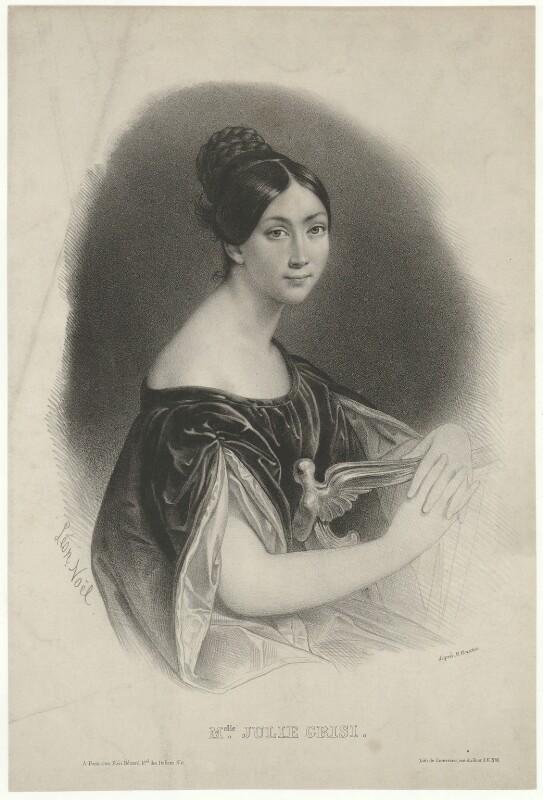 Giulia Grisi, by Alphonse Léon Noël, printed by  Lemercier, published by  Piéri Benard, after  François Bouchot, 1840 - NPG D34974 - © National Portrait Gallery, London