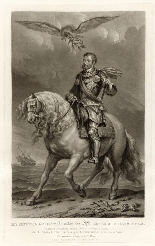 Charles V, Holy Roman Emperor, by Richard Earlom, published by  Samuel Woodburn, after a portrait attributed to  Sir Anthony van Dyck, published 1816 - NPG D34886 - © National Portrait Gallery, London