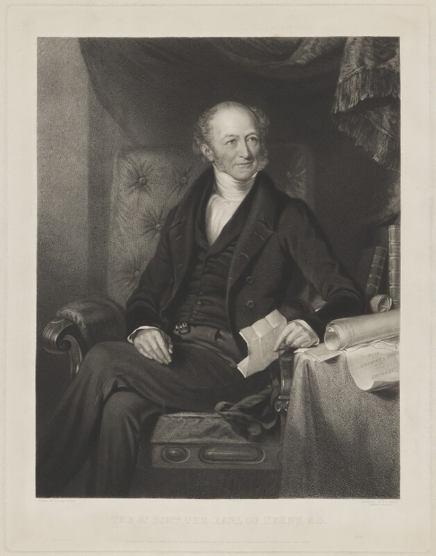 Edward Stanley, 14th Earl of Derby, by Frederick Christian Lewis Sr, printed by  Brooker & Harrison, published by  Thomas Agnew, and published by  Anaglyphic Company, after  William Derby, published 18 July 1844 - NPG D35036 - © National Portrait Gallery, London