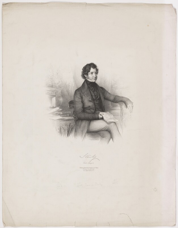 Edward Stanley, 14th Earl of Derby, by Émile Desmaisons, published by  A.H. & C.E. Baily, January 1842 - NPG D35038 - © National Portrait Gallery, London