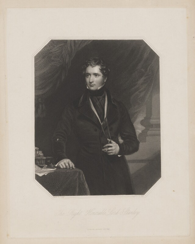 Edward Stanley, 14th Earl of Derby, by William Henry Mote, published by  George Virtue, after  Henry Perronet Briggs, (1839) - NPG D35040 - © National Portrait Gallery, London