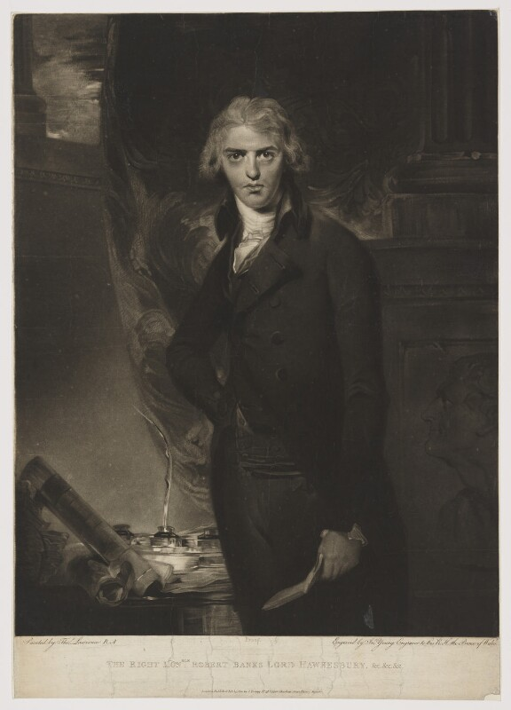 Robert Banks Jenkinson, 2nd Earl of Liverpool, by and published by John Young, after  Sir Thomas Lawrence, published 14 February 1801 (1790s) - NPG D35205 - © National Portrait Gallery, London