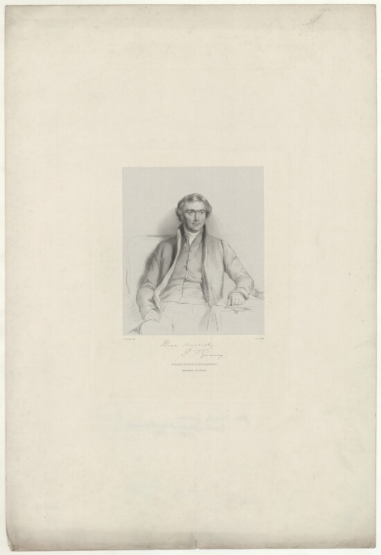 Joseph John Gurney, by Richard James Lane, printed by  M & N Hanhart, published by  Josiah Fletcher, after  George Richmond, 1847 - NPG D35074 - © National Portrait Gallery, London