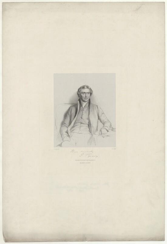 Joseph John Gurney, by Richard James Lane, printed by  M & N Hanhart, published by  Josiah Fletcher, after  George Richmond, 1847 - NPG D35074 - © National Portrait Gallery, London