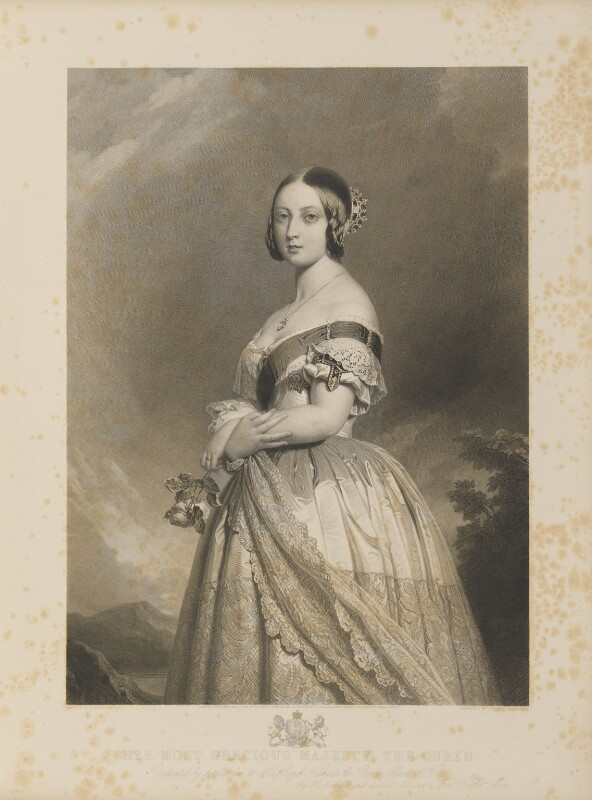 Queen Victoria, by François Forster, published by  Sir Francis Graham Moon, 1st Bt, after  Franz Xaver Winterhalter, published 1 May 1847 - NPG D35047 - © National Portrait Gallery, London
