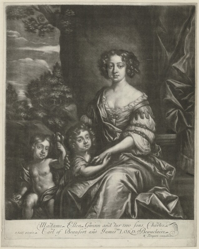 James Beauclerk; Charles Beauclerk, 1st Duke of St Albans; Nell Gwyn, by Richard Tompson, after  Sir Peter Lely, before 1693 - NPG D35093 - © National Portrait Gallery, London