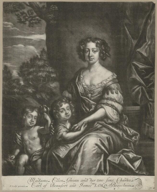 James Beauclerk; Charles Beauclerk, 1st Duke of St Albans; Nell Gwyn, by Richard Tompson, after  Sir Peter Lely, before 1693 - NPG D35094 - © National Portrait Gallery, London