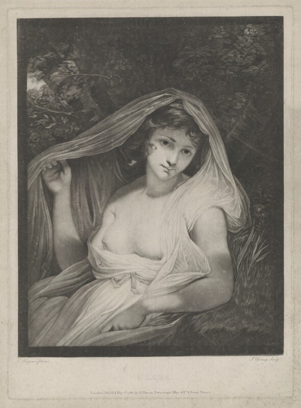Emma Hamilton ('Neæra'), by John Young, published by  John Harris, after  John Hoppner, published 1 May 1788 - NPG D35241 - © National Portrait Gallery, London