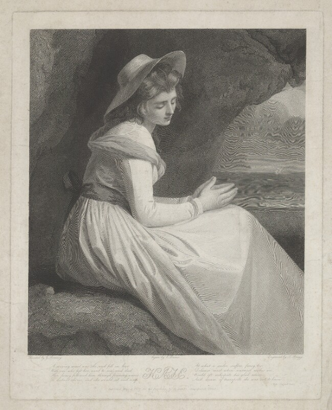 Emma Hamilton ('Kate'), by Charles Brome, by  Thomas Bragg, published by  Richard Lambe, after  George Romney, published 4 May 1827 (mid 1780s) - NPG D35242 - © National Portrait Gallery, London