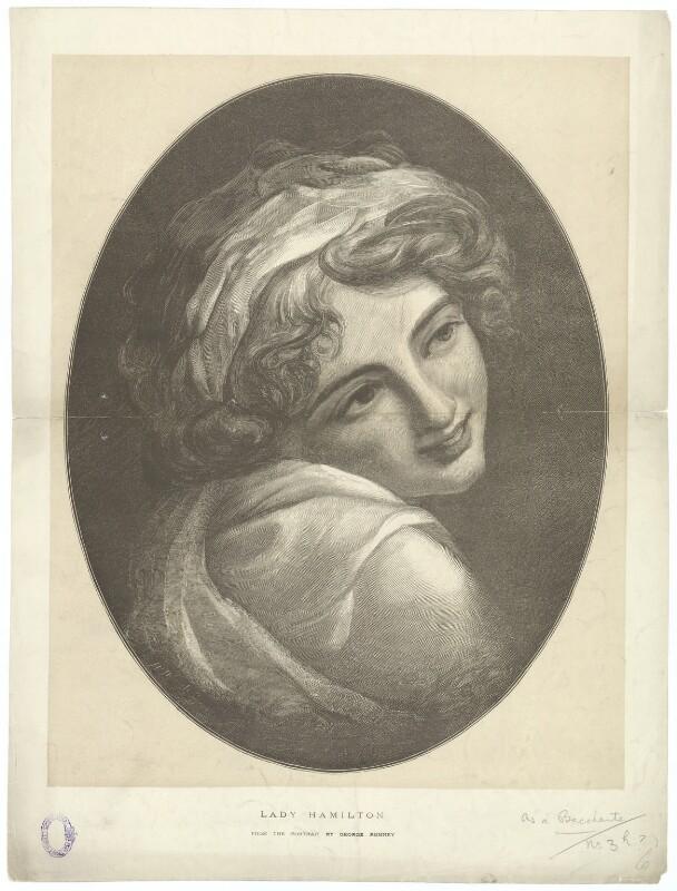 Emma Hamilton as a Bacchante, by Henry Sigismund Uhlrich, after  George Romney, published 29 April 1876 (circa 1786) - NPG D35246 - © National Portrait Gallery, London