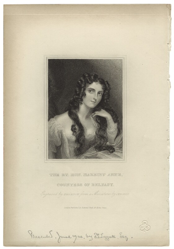 Harriet Anne Chichester (née Butler), Marchioness of Donegall, by James Thomson (Thompson), published by  Edward Bull, after  Anne Mee (née Foldsone), 1823 - NPG D35269 - © National Portrait Gallery, London