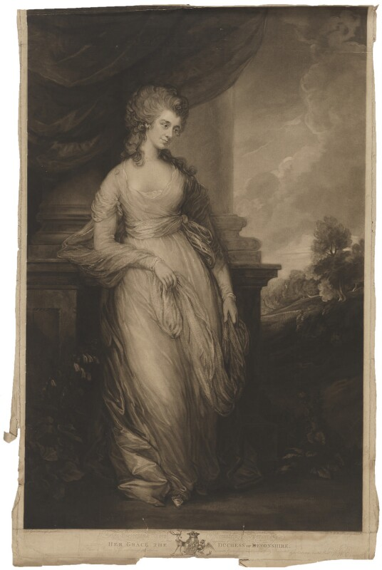 Georgiana Cavendish (née Spencer), Duchess of Devonshire, by William Whiston Barney, published by  Thomas Palser, after  Thomas Gainsborough, published 20 April 1808 - NPG D35165 - © National Portrait Gallery, London