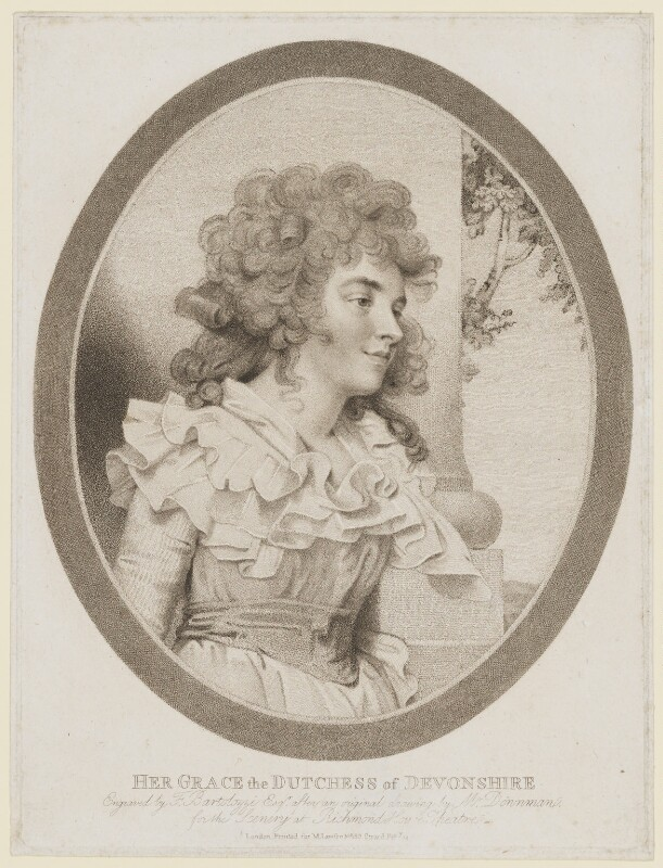 Georgiana Cavendish (née Spencer), Duchess of Devonshire, by Francesco Bartolozzi, published by  M. Lawson, after  John Downman, (1787) - NPG D35166 - © National Portrait Gallery, London