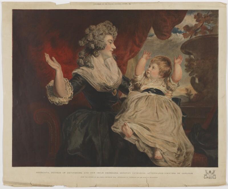 Georgiana Cavendish (née Spencer), Duchess of Devonshire; Georgiana Dorothy (née Cavendish), Countess of Carlisle, after Sir Joshua Reynolds, published 1795 (1784) - NPG D35168 - © National Portrait Gallery, London