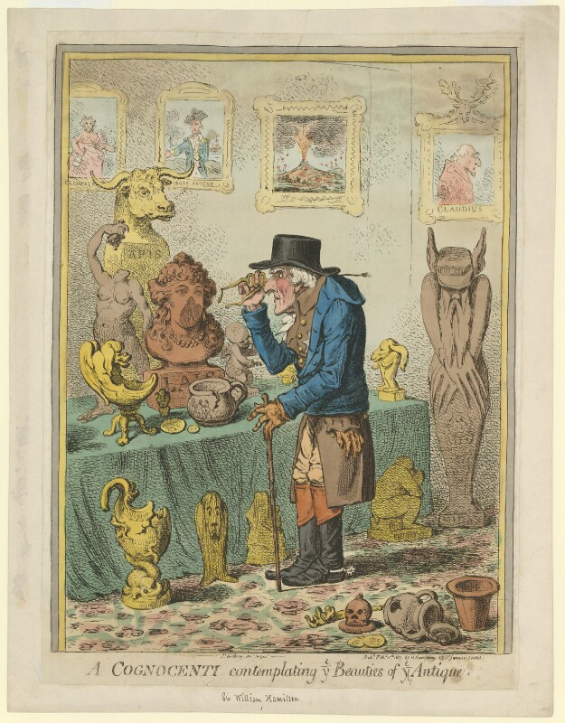 A Cognocenti contemplating ye Beauties of ye Antique (Emma Hamilton; Horatio Nelson; Sir William Hamilton), by James Gillray, published by  Hannah Humphrey, published 11 February 1801 - NPG D35272 - © National Portrait Gallery, London
