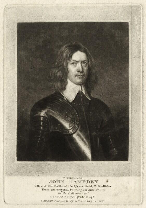 John Hampden, by Charles Turner, published by  Samuel Woodburn, published 1810 - NPG D35295 - © National Portrait Gallery, London