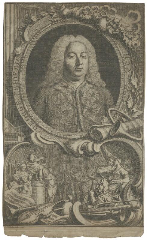 George Frideric Handel, by Jacobus Houbraken, by  Hubert-François Gravelot (né Bourguignon), 1738 - NPG D35303 - © National Portrait Gallery, London