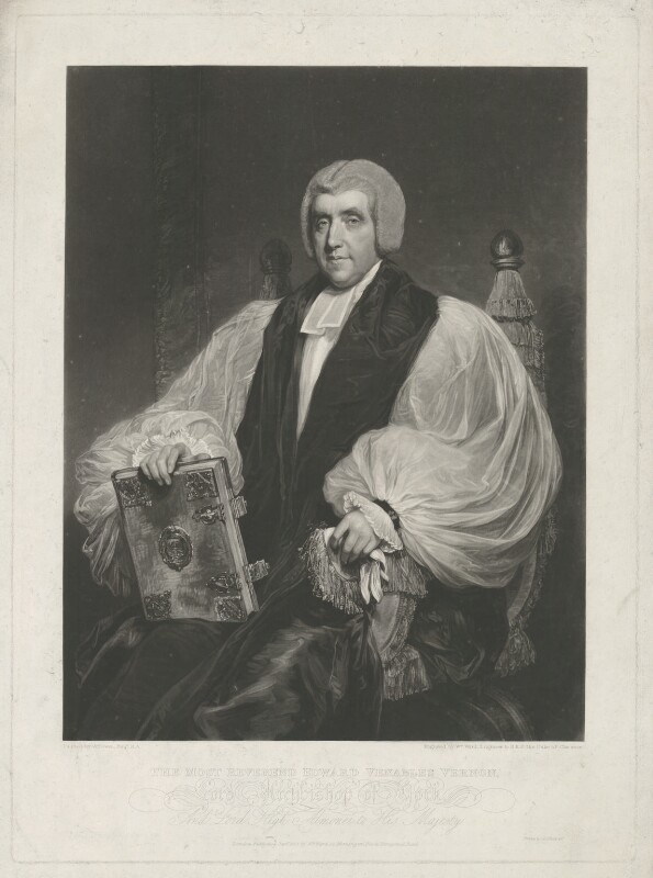 Edward Venables Vernon Harcourt, by and published by William James Ward, printed by  Chatfield & Co, after  William Owen, published September 1828 (1811) - NPG D35313 - © National Portrait Gallery, London
