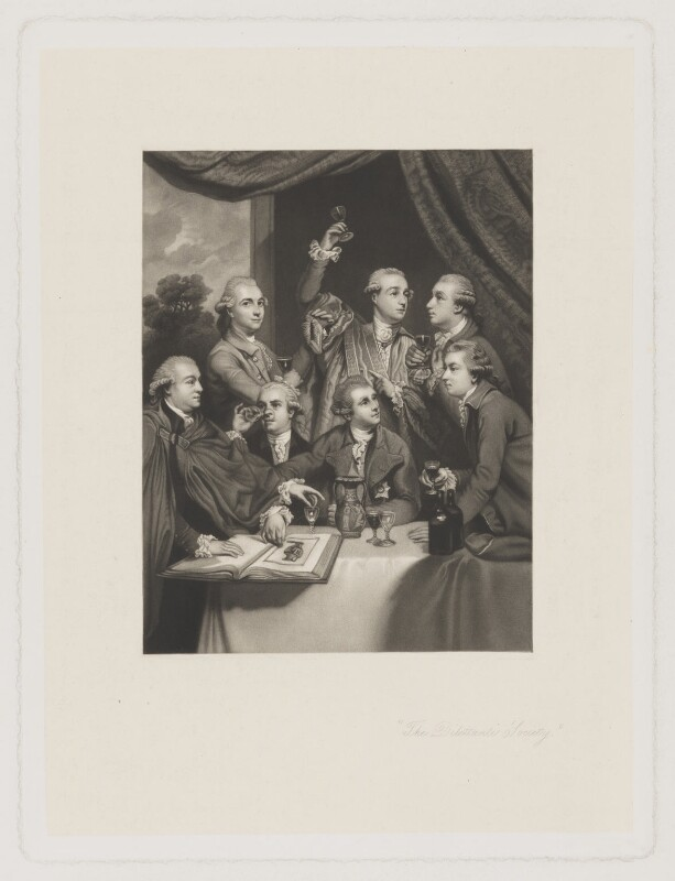 'The Dilettanti Society', by Charles Algernon Tomkins, after  Sir Joshua Reynolds, mid 19th century (1777-1779) - NPG D35196 - © National Portrait Gallery, London