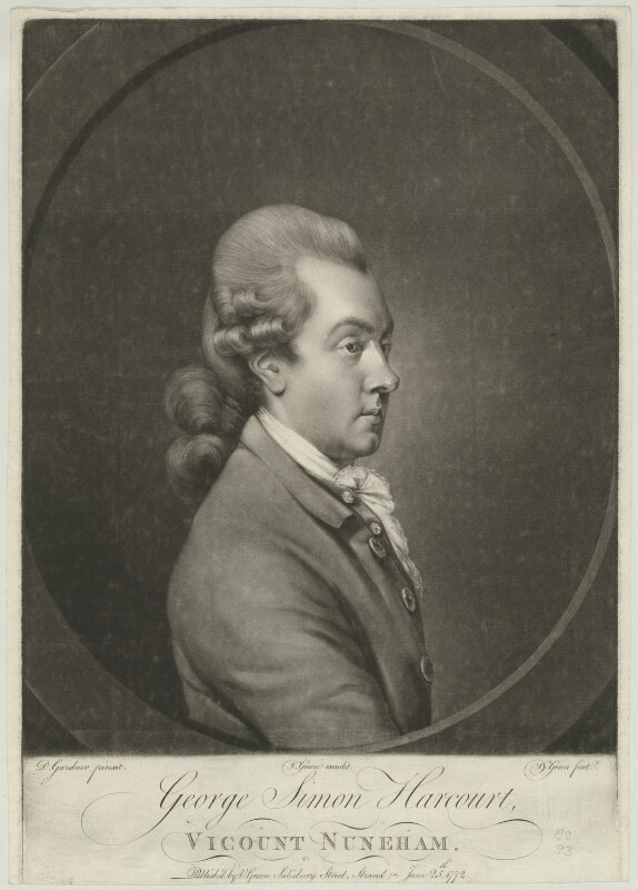 George Simon Harcourt, 2nd Earl Harcourt, by and published by Valentine Green, after  Daniel Gardner, published 25 June 1772 - NPG D35319 - © National Portrait Gallery, London