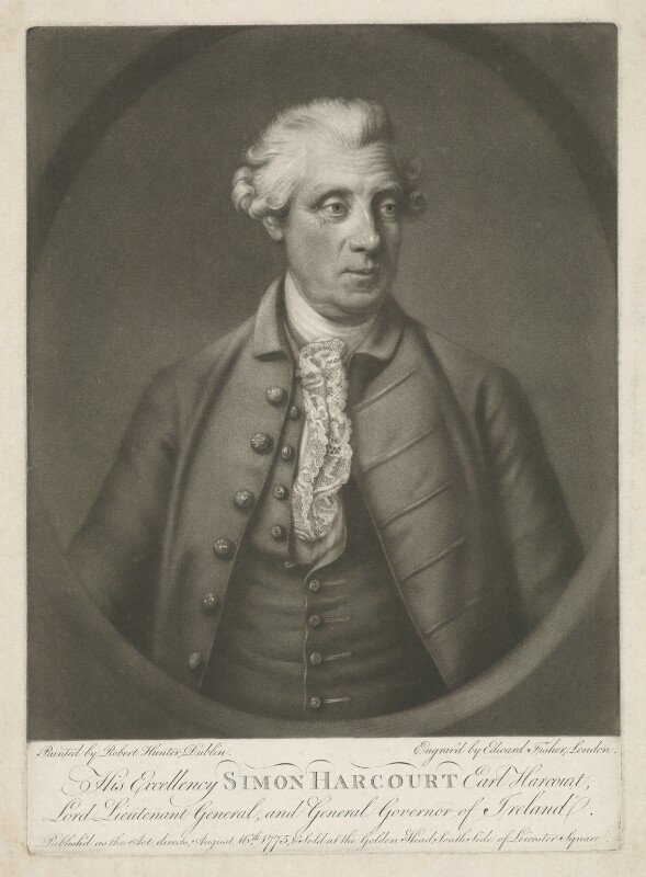 Simon Harcourt, 1st Earl Harcourt, by Edward Fisher, after  Robert Hunter, published 16 August 1775 (1772-1775) - NPG D35323 - © National Portrait Gallery, London