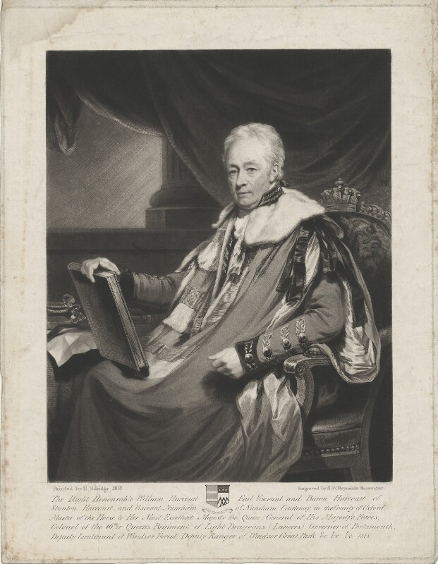 William Harcourt, 3rd Earl Harcourt, by Samuel William Reynolds, after  Henry Edridge, 1822 (1818) - NPG D35324 - © National Portrait Gallery, London