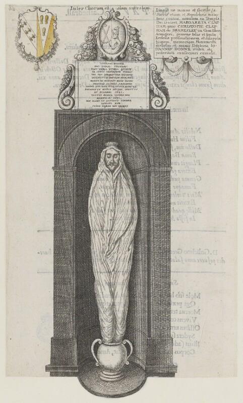 Monumental effigy of John Donne, by Wenceslaus Hollar, 1658 - NPG D35350 - © National Portrait Gallery, London