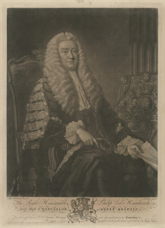 Philip Yorke, 1st Earl of Hardwicke, by John Faber Jr, published by  Thomas Bowles Jr, published by  John Bowles, published by  Carington Bowles, after  Thomas Hudson, 1753-1763 - NPG D35415 - © National Portrait Gallery, London