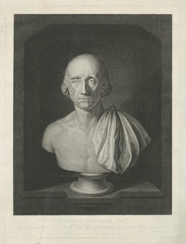 Warren Hastings, by Thomas Gaugain, published by  John Brydon, after  Simon de Koster, after  Thomas Banks, published February 1798 (1790) - NPG D35562 - © National Portrait Gallery, London
