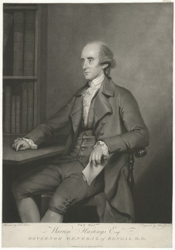 Warren Hastings, by John Jones, after  John Thomas Seton (Seaton), published 6 April 1785 (1784) - NPG D35564 - © National Portrait Gallery, London