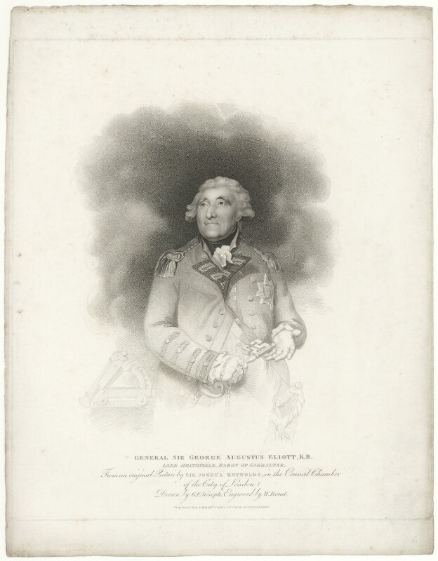 George Augustus Eliott, 1st Baron Heathfield, by William Bond, published by  T. Cadell & W. Davies, after  George Francis Joseph, after  Sir Joshua Reynolds, published 4 February 1813 (1787) - NPG D35670 - © National Portrait Gallery, London