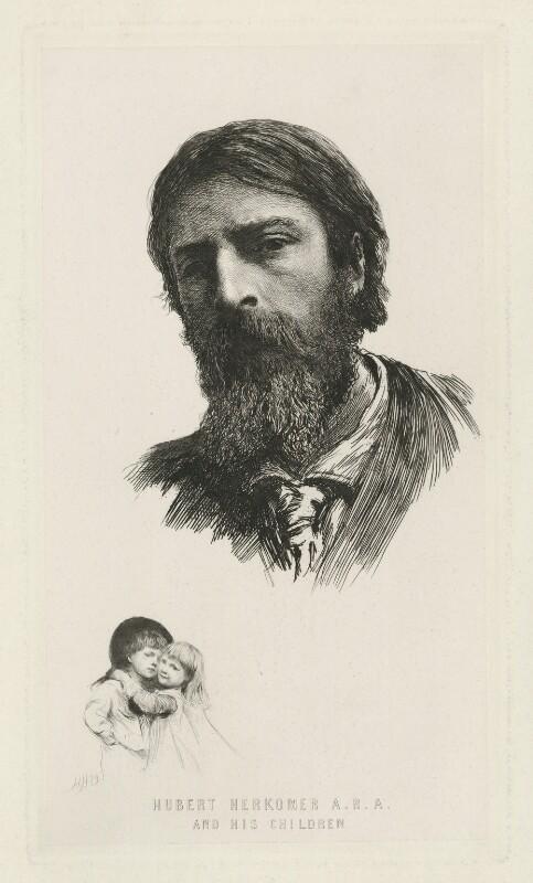Hubert Herkomer A.R.A. and his Children, by Sir Hubert von Herkomer, 1879 - NPG D35709 - © National Portrait Gallery, London