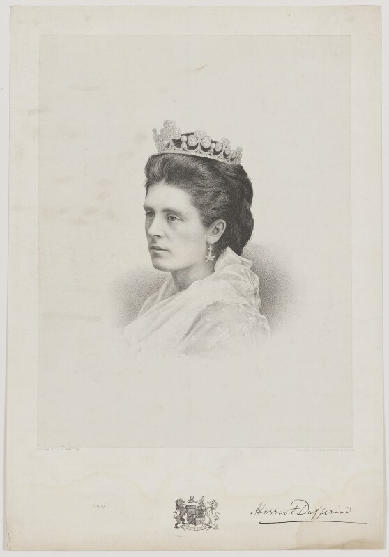 Hariot Georgina (née Rowan-Hamilton), Marchioness of Dufferin and Ava, by Charles William Walton, published by  Morris & Co, after 1862 - NPG D35778 - © National Portrait Gallery, London