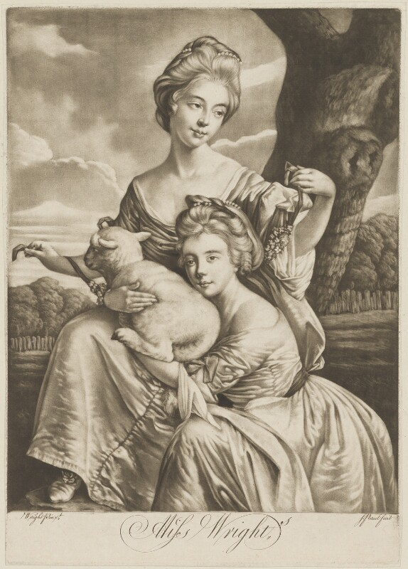 The Bradshaw Sisters (Anne Porter Bouch (née Bradshaw); Frances Bradshaw), engraved as the Misses Wright, by P. or S. Paul (Samuel de Wilde?), after  Joseph Wright, 1770s - NPG D35810 - © National Portrait Gallery, London