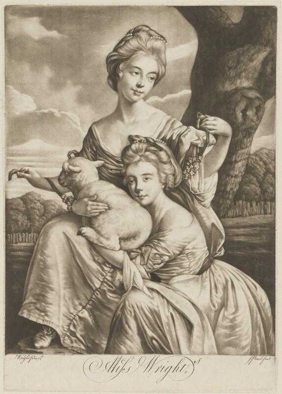 The Bradshaw Sisters (Anne Porter Bouch (née Bradshaw); Frances Bradshaw), engraved as the Misses Wright, by P. or S. Paul (Samuel de Wilde?), after  Joseph Wright, 1770s - NPG D35810 - © National Portrait Gallery, London