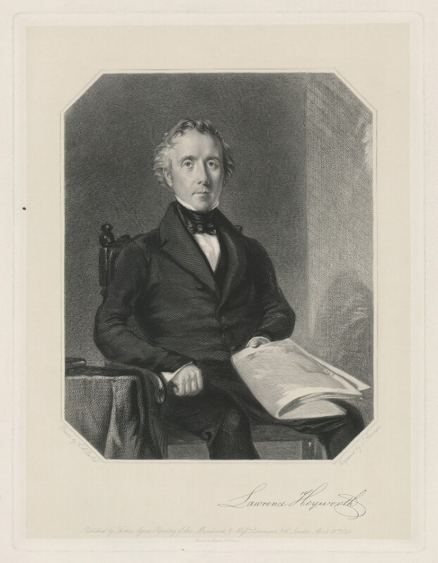 Lawrence Heyworth, by J. Stevenson, printed by  Brooker & Harrison, published by  Thomas Agnew, published by  Ackermann & Co, after  Charles Allen Duval, published 21 April 1846 - NPG D35755 - © National Portrait Gallery, London