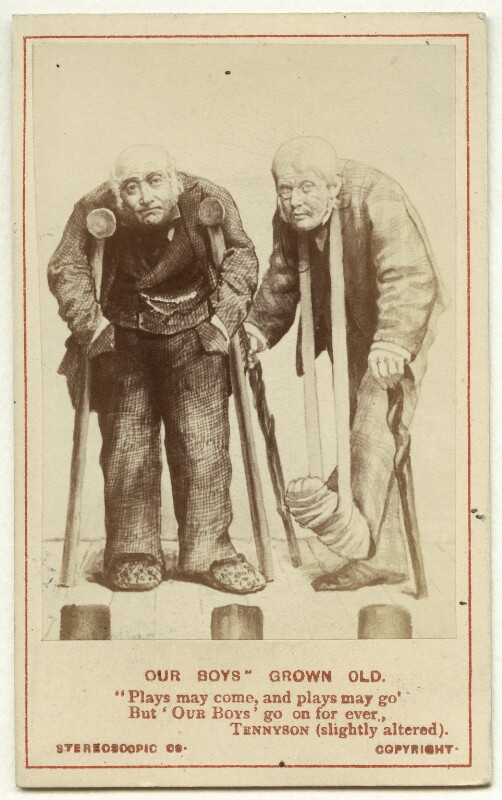 'Our Boys' Grown Old (David James as Perkyn Middlewick; Thomas Thorne as Talbot Champneys), by London Stereoscopic & Photographic Company, after  Unknown artist, mid-late 1870s - NPG Ax25103 - © National Portrait Gallery, London