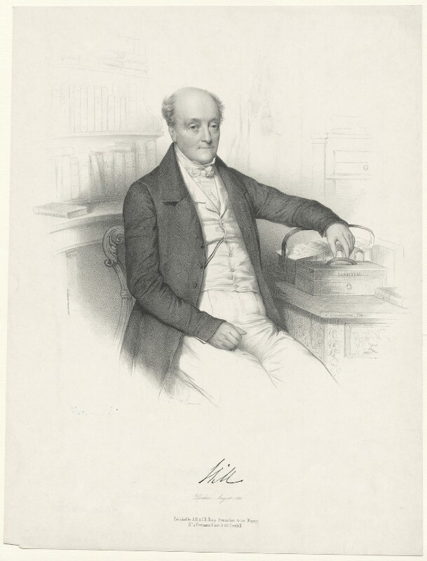 Rowland Hill, 1st Viscount Hill, by Émile Desmaisons, printed by  Lemercier Bernard et Cie, published by  A.H. & C.E. Baily, August 1841 - NPG D35825 - © National Portrait Gallery, London