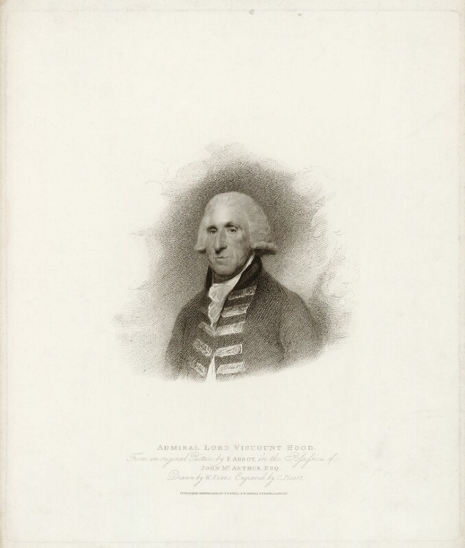 Samuel Hood, 1st Viscount Hood, by Charles Picart, published by  T. Cadell & W. Davies, after  William Evans, after  Lemuel Francis Abbott, published 1809 (1794) - NPG D35952 - © National Portrait Gallery, London