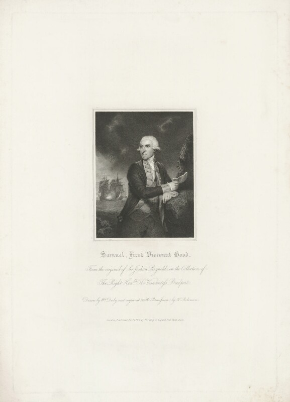 Samuel Hood, 1st Viscount Hood, by John Henry Robinson, published by  Harding & Lepard, after  William Derby, after  Sir Joshua Reynolds, published 1 January 1831 (1783) - NPG D35953 - © National Portrait Gallery, London