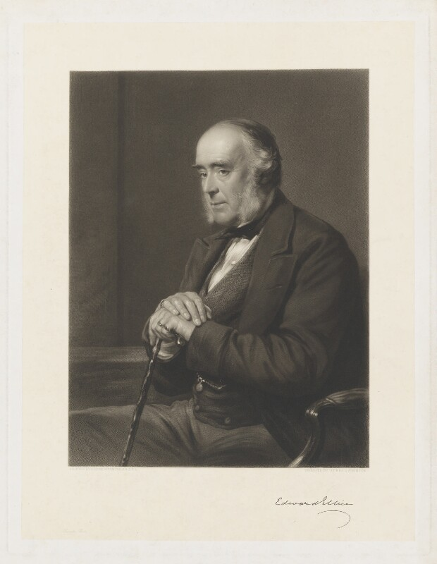 Edward Ellice, by Thomas Lewis Atkinson, after  George Richmond, 1870s-1880s - NPG D36156 - © National Portrait Gallery, London
