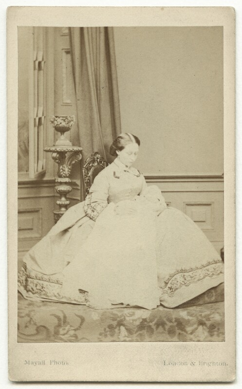 Princess Alice, Grand Duchess of Hesse with her baby, by John Jabez Edwin Mayall, published by  A. Marion, Son & Co, circa 1863 - NPG x32962 - © National Portrait Gallery, London