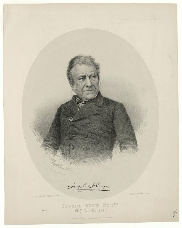 Joseph Hume, by George B. Black, published by  Ackermann & Co, after  John Jabez Edwin Mayall, published 1854 - NPG D36381 - © National Portrait Gallery, London