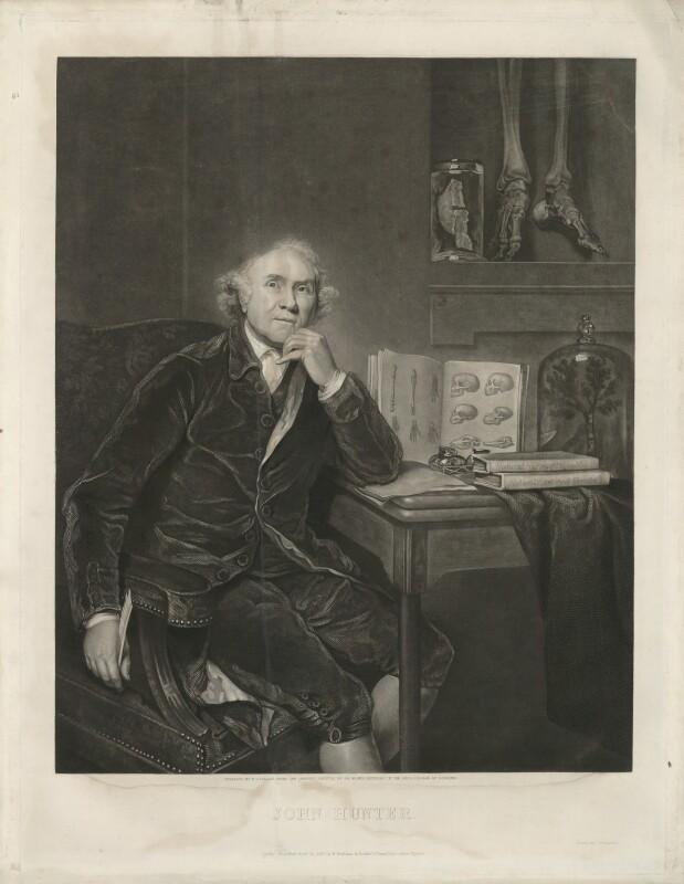 John Hunter, by William Overend Geller, printed by  S.H. Hawkins, published by  Henry Benham, after  Sir Joshua Reynolds, published 21 April 1836 (1786) - NPG D36396 - © National Portrait Gallery, London