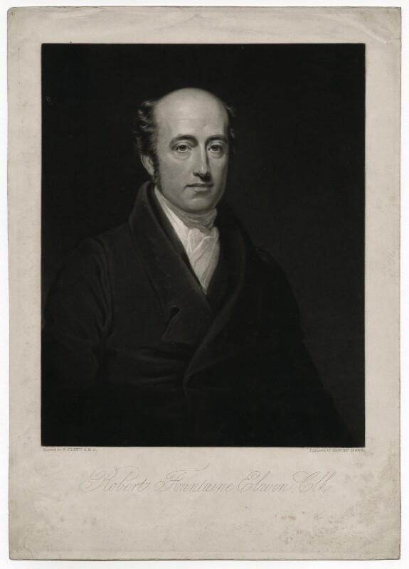 Robert Fountain (or Fountaine) Elwin, by Henry Edward Dawe, after  George Clint, mid 19th century - NPG D36177 - © National Portrait Gallery, London