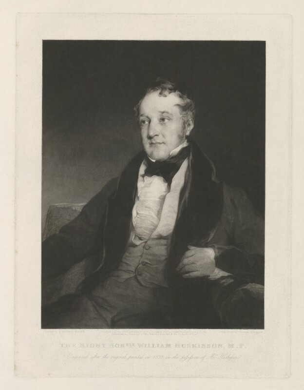 William Huskisson, by Thomas Hodgetts, published by  Martin Colnaghi, after  Richard Rothwell, published August 1832 (1830) - NPG D36414 - © National Portrait Gallery, London