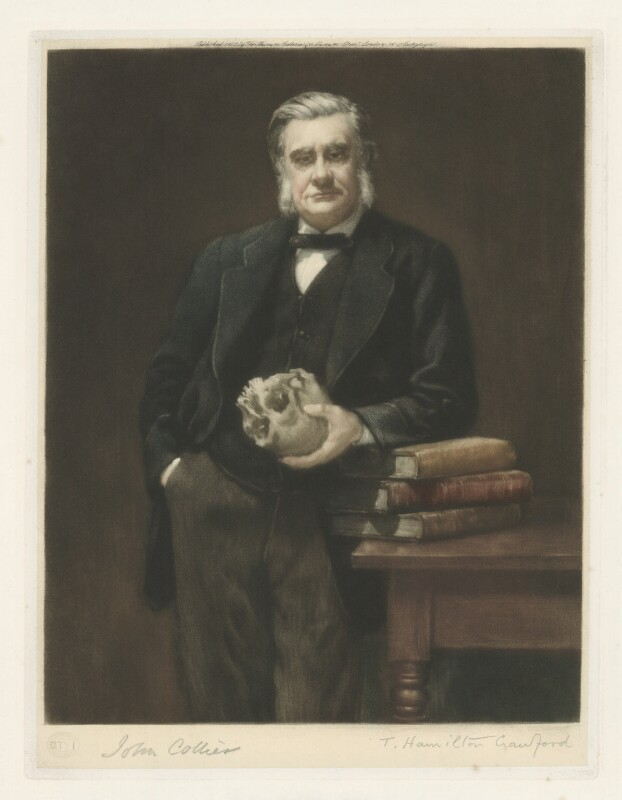 Thomas Henry Huxley, by Thomas Hamilton Crawford, published by  Museum Galleries, after  John Collier, published 1922 (1883) - NPG D36430 - © National Portrait Gallery, London